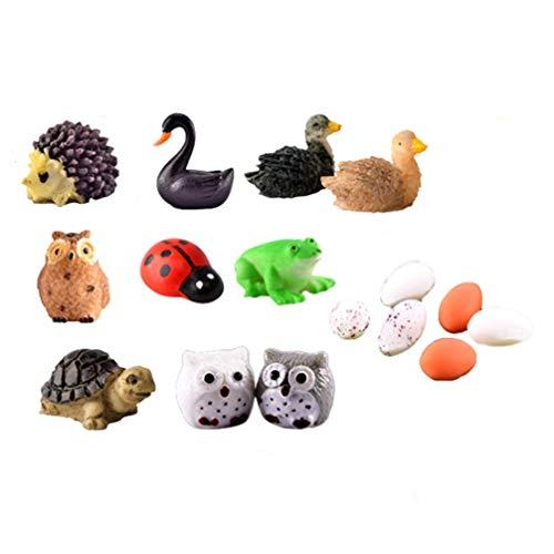 Healifty 18 Piezas de Animales en Miniatura Kit de jardín de Hadas en Miniatura Adornos de jardín en Miniatura para DIY decoración de casa de muñecas de jardín de Hadas