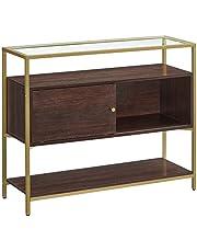 VASAGLE Skänk, glasbuffébord med skjutdörr, öppen hylla och stålram, konsolbord och förvaringsskåp, för matsalsrum, chokladbrunt och matt guldfärg LSC016B24