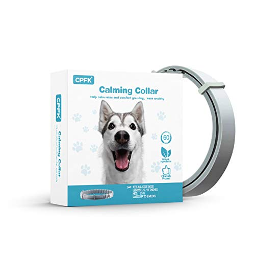 CPFK Calming Collar for Dogs Pheromones Relieve Reduce Anxiety or Stress Adjustable Collars with Long-Lasting 60 Days Stay Calm and Comfortable for All Small Medium and Large Dog (25 Inches)