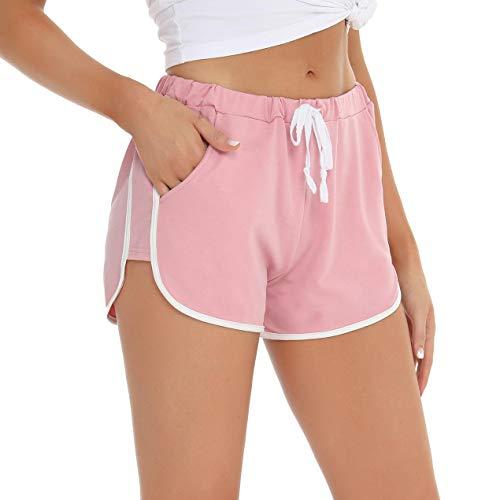 Abollria Shorts Damen Schlafanzughose Kurz Schlafhose Kurze Sporthose Baumwolle Pyjamahose Kurz Hosen Yoga Running Gym Beiläufige Elastische (Rosa, M)