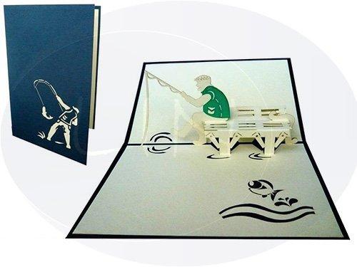 LIN-POP 105 UP 3D Karten, Geburtstagskarten, Angler