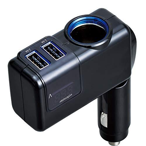 セイワ(SEIWA) 車用 シガーソケット 電圧計付き USBポート搭載 車載充電器 分配器 角度調節 F307 増設 12V専用 5V/4.8A 電圧測定 バッテリー上がり防止