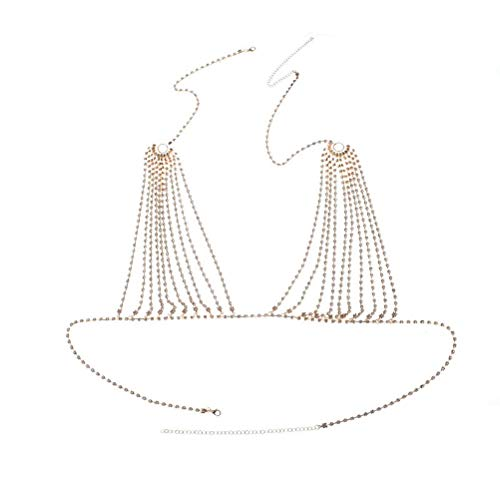 MineSign Diamond Sexy Chain Necklace Summer Bikini Bra Accessories Beach Party Body Jewelry (Gold, Large)