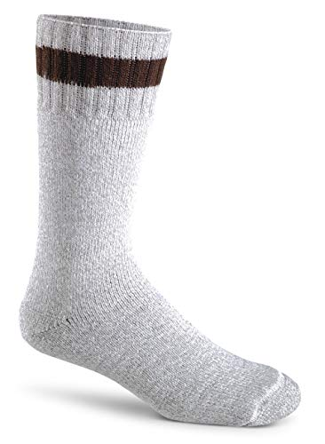 FoxRiver Therm-O-Ragg Mid Calf Wool Socks for Men, Heavy Duty Cold Weather Socks That Insulates & Wicks Away Moisture - Brown Tweed - Large
