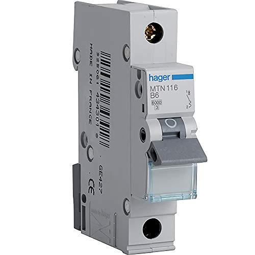 Hager MTN116Mini-Leitungsschutzschalter, 1Pol, 1Modul, Typ B, 6kA Schaltleistung, 16 A Stromstärke