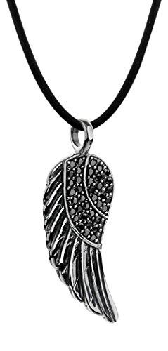 Nenalina Damen Halskette aus Kautschuk mit Engelsflügel Anhänger, Kautschukkette für Frauen mit Flügel und Zirkonia schwarz, Damen-Kette mit 925 Sterling Silber Verschluss, Länge 42cm