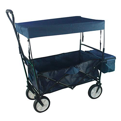 PRO-CARTS Bollerwagen Faltbar mit Dach Handwagen Gerätenwagen Transportkarre | bis 100kg | Vollgummireifen | Leichter und Schneller Aufbau | inkl. 2 Netztaschen und Einer Hecktasche | blau
