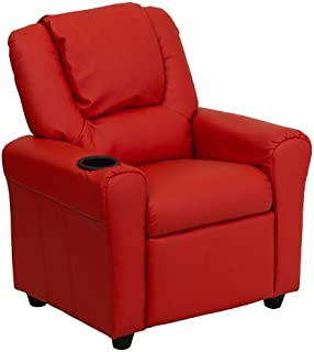 Flash Furniture Contemporary Red Vinyl Kids Recliner with Cup Holder and Headrest