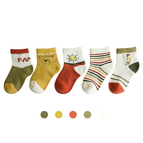 Secdtie 5 Pairs Children's Autumn Winter Warm Cotton Socks Soft Kids Girls Boys Socks Sun Fox Bear Stripe Yellow Ornage Green 1-3 Years