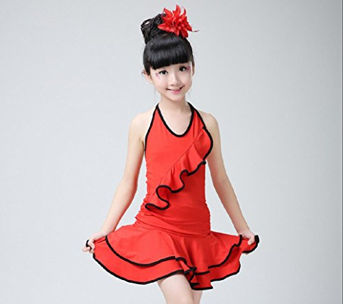 Ropa de niña y Ropa de Danza del Juego de los niños de los niños de América Teatro Vestuario/Rosa/Rojo/Negro, Red, 110cm