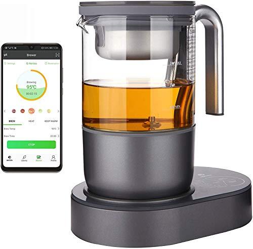 Qi Aerista IoTea Brewer | Award-Winning Smart Tea Brewer | Perfect Tea Maker | 9 Auto Brew Programs | Smartphone App | Herbal Tea | Bubble Tea | Milk Tea | Cold Brew | Kickstarter Funded | 220V G Plug