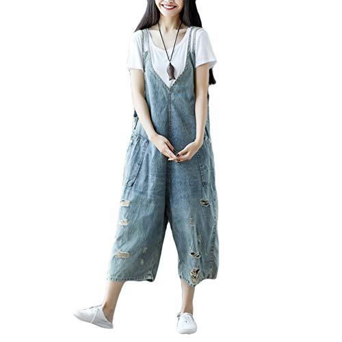 YuanDian Damen Latzjeans Weites Bein Große Größen Denim Latzhose Overalls Strampler Jeans Boyfriend Loose Fit Umstands Schwangerschaft übergroße Jumpsuits Hose 12# Hellblau