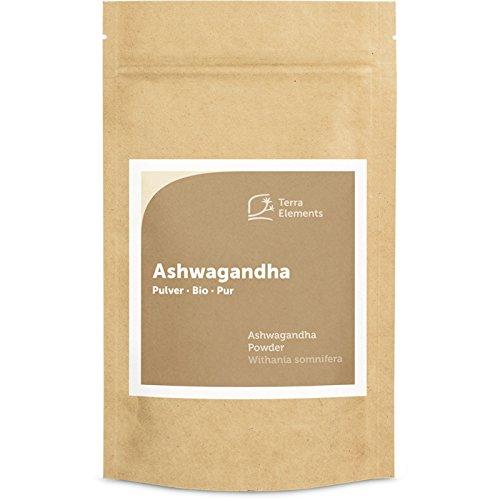 Terra Elements Bio Ashwagandha Pulver, 100 g I Indischer Ginseng I Schlafbeere I 100% rein I Vegan I Rohkost