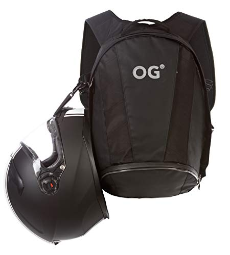 OG Online&Go EZ-Rider2 Mochila Moto Negra 24L, Bolsa Porta-Casco Motorista, Correa Casco, Impermeable, Portátil, Reflectante (Logo Blanco)