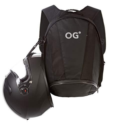 OG Online&Go EZ-Rider 2 Mochila Moto Negra 24L, Bolsa Porta-Casco Motorista, Correa Casco, Impermeable, Portátil, Reflectante