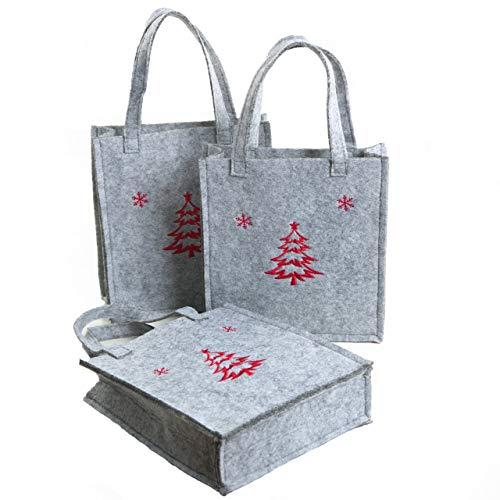 Logbuch-Verlag kleine grijze vilten tassen geschenktasjes vilt verpakking kerstcadeau kerstcadeau kerstmis kerstverpakking 19 x 16,5 x 4,5 rood geborduurd dennenboom 3 Stück grijs