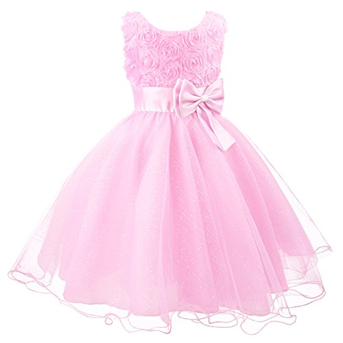 Discoball Girls Flower Dress Formal Wedding Damigella d'onore Party Battesimo Vestito da principessa in pizzo per bambini
