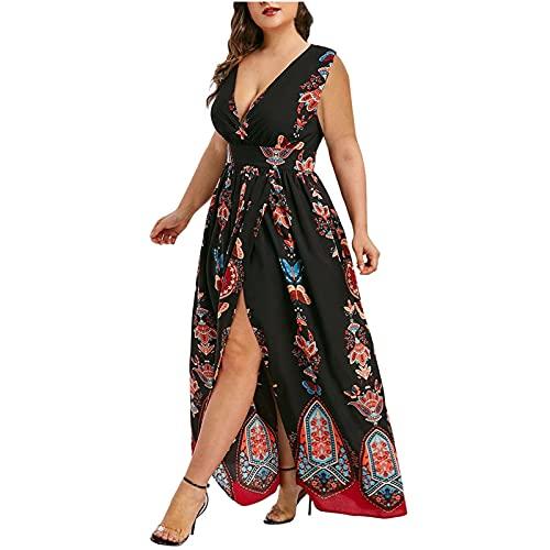 pamkyaemi Sommerkleid Damen Lang Maxi Kleider Kurzarm Kleider Plus Size Kleid Strandkleid mit Schlitz Kaftan Kleid Sommer Damen Elegant High Waist Casual Lässige Lang Kleid Cocktailkleid