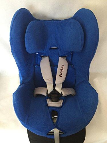 Sommerbezug Schonbezug für Cybex Sirona und Sirona plus Frottee 100% Baumwolle blau + Bezug für den Fangkörper
