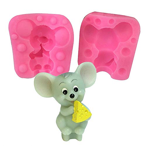 Mouse Silicone Mold - MoldFun Cute Mouse Eating Cheese Art Craft Mould for Fondant, Candle, Soap, Wax Crayon, Polymer Paper Fimo Clay