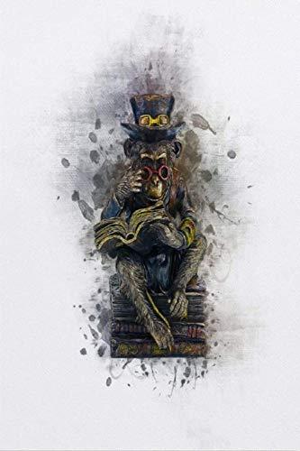 Impresión sobre lienzo con diseño de monos steampunk, la vista está debajo de la superficie, el cuadro está pintado en la decoración del lienzo de 50 x 75 cm, UnFrame