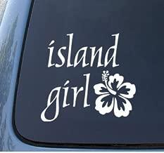 ISLAND GIRL - Hawaii Hibiscus - Car, Truck, Notebook, Vinyl Decal Sticker #1162   Vinyl Color: White