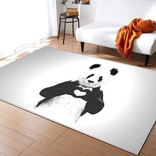Tapis Panda Animal Noir Blanc Lavable avec Le Fond Antidérapant,Tapis Tapis Shaggy Tapis Décoratif De Style Moderne pour Salon,Chambre 80 x 160 cm