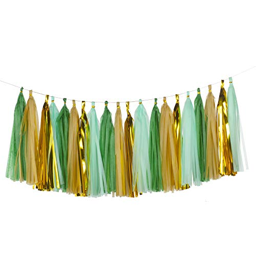 We Moment Tissue Paper Tassels Party Tassel Garland Banner for Wedding Birthday Baby Shower Party Decorations Supplies, DIY Kits,Dark Green,Mint Green,Champagne Gold,Gold,Pack of 20