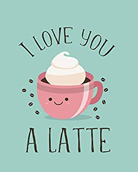 I Love You A Latte Food Pun Wall Art Print on Blue Background - one  8x10  Unframed Print - funny wall decor quotes
