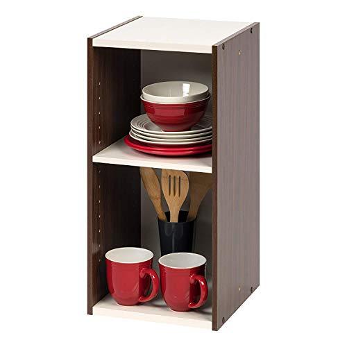 Amazon Marke - Movian 2-fach modulares MDF Bücherregal, Braun/Weiß, 30 x 29 x 60 cm