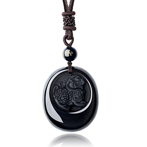 COAI Colagnate de Obsidiana con Pixiu Incrustado