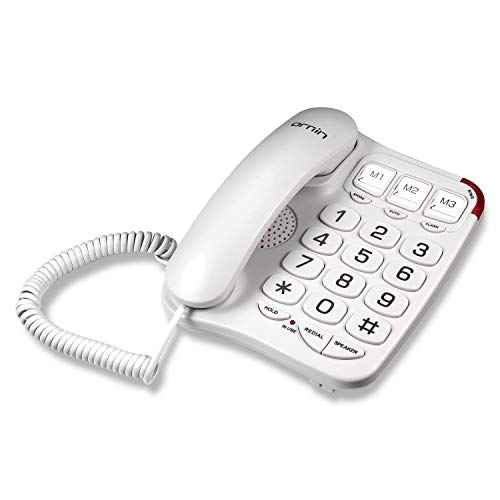 Ornin S016+ Big Button Corded Telephone with Speaker, Desk Phone (Off-White)