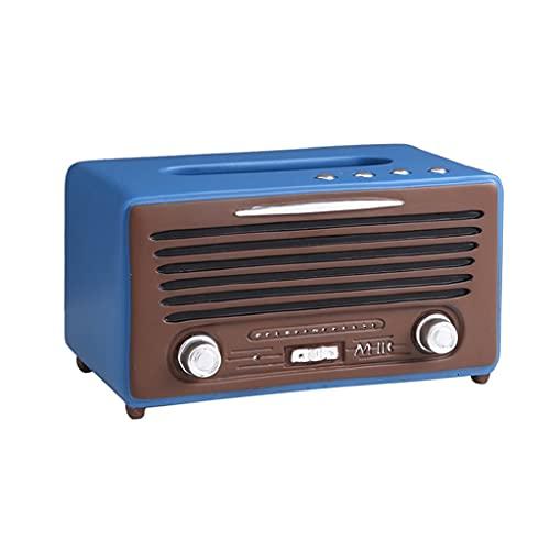 Caja de panuelos de Papel Retro Vintage Radio Caja De Pañuelos Cubierta Dispensador De Papel Decorativo Facial Tapa De La Cubierta De La Caja Caja de panuelos Decoracion (Color : Blue)