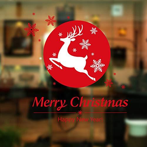 HNLY Weihnachtsdekoration Requisiten Weihnachten Aufkleber Weihnachtsmann Charme Schaufenster GlastüR Dekorative Wandaufkleber 60 * 45 cm
