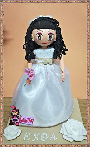 Fofucha Mi primera Comunión niña muñeca artesanal 35 cms