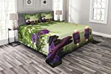 Ambesonne Spa Bedspread, Stones Aromatic Candles and Orchids Blooms Treatment Vacation, Decorative Quilted 3 Piece Coverlet Set with 2 Pillow Shams, Queen Size, Green Purple