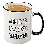 Mecai Coffee Mug-Worlds Okayest Employee-Funny Present for Coworker Ceramic Coffee Mugs Boss Gifts Work Appreciation Award