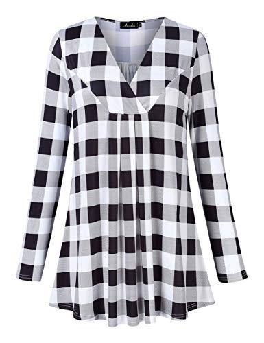 AMZ PLUS Women's Plus Size Pleated V-Neck Long Sleeve Floral Print Loose Blouse Casual Tunic Shirt White Black Plaid 4XL