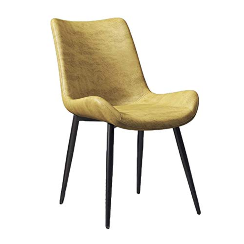 GXDHOME Chair Kitchen Dining Chairs, Coffee Chairs Fabric Solid Metal Chairs Suede Seat Dining Room Living Room Bedrooms Shopping Malls (Color : Yellow)