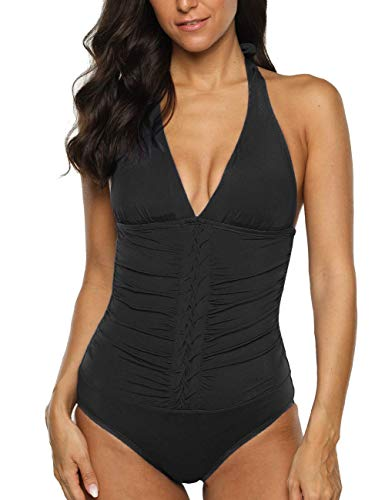 Firpearl Women's Halter One Piece Swimsuits Pin-Tucked Tummy Control Bathing Suits US 14 Black