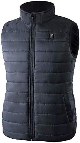 CHNDR Unisex elektrisch vest/verwarming, intelligente warme jas, met USB-kabel – voor outdoor, racing, reizen, sport, fiets, ski, zwart, maat XXL