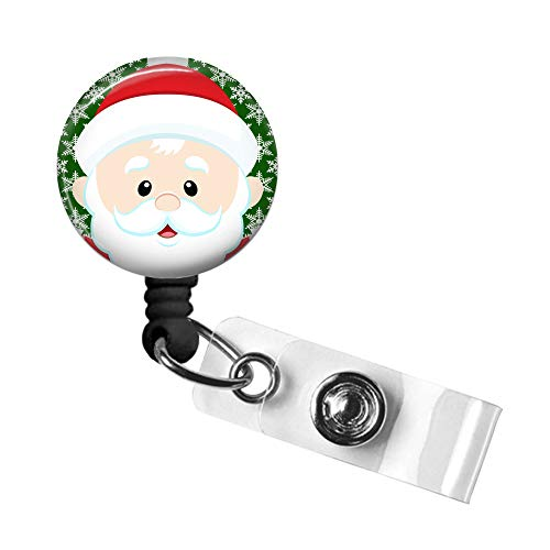 Christmas Badge Reel, Retractable ID Tag, Badge Pull, Badge Holder with Swivel Alligator Clip, 34in. Nylon Cord, Medical MD RN Nurse Office Employee, Santa