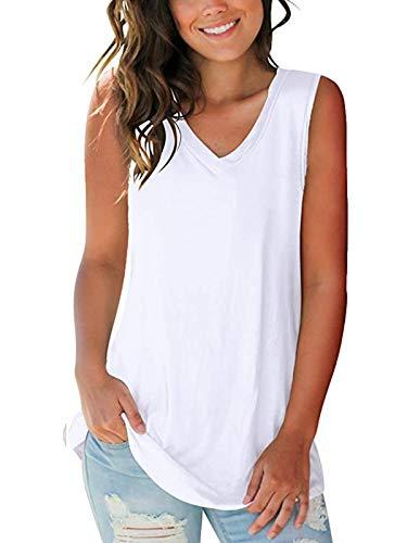 SAMPEEL Sleeveless Tunic Tops for Women Plus Size Tank Tops Summer Loose Fitting White XXL