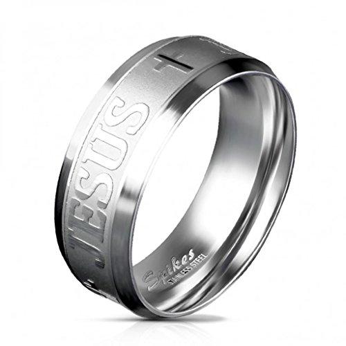 Paula & Fritz, anello da donna, in acciaio inox spazzolato, anello di fidanzamento/amicizia con scritta in lingua inglese 'Jesus' e croce, color argento R M587047(15)