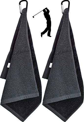 """2 Piezas Toalla de Golf de Microfibra Toalla de Limpieza de Golf con mosquetón para Golf Yoga Acampada Gimnasia - 6 """"x 13"""" 🔥"""