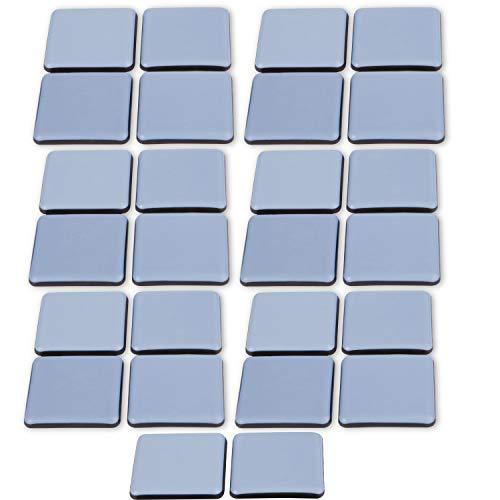 Filzada® 26x Almohadillas de Teflón para Muebles autoadhesivo - 35 x 35 mm (cuadrado) - Deslizadores profesionales de muebles/deslizadores de alfombras PTFE (Teflón)