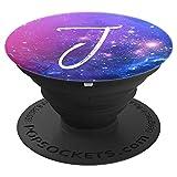 Galaxy Buchstabe J Blau Lila Rosa Weiß Nebula Monogramm J - PopSockets Ausziehbarer Sockel und Griff für Smartphones und Tablets