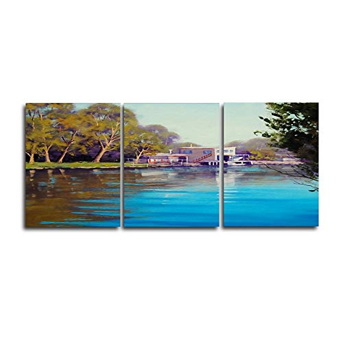 MMLFY 3 foto's 3 tafels rivierhuis poster print muurkunst vintage canvas schilderij woonkamer huis decoratie frameloos No Frame 30 x 40 cm x 3 No Frame