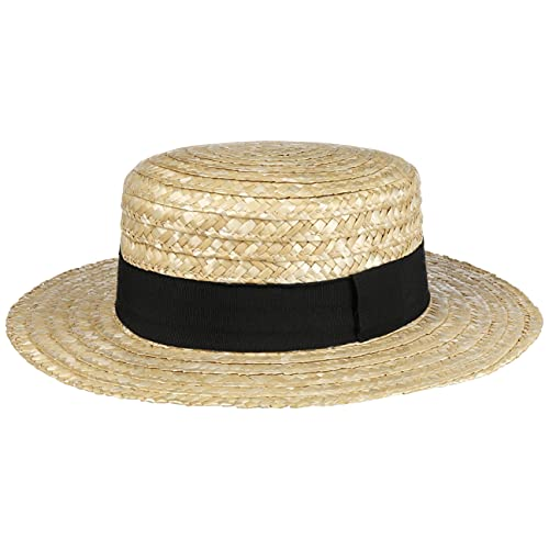 LIPODO Boater paglietta Donna/Uomo - Made in Italy - Cappello da Sole in Paglia di frumento - Cappello da gondoliere - Copricapo con Fascia in Gros-Grain Primavera/Estate Natura 59 cm