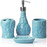 Designer Set di 4 pezzi di accessori per il bagno in ceramica | Include distributore di sa...